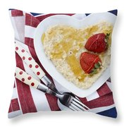 Healthy Breakfast Oats On Heart Shape Plate Throw Pillow