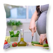 Healthy Nutrition For Pregnant Woman Throw Pillow