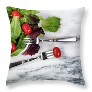 Healthy Organic Salad Flowing Out Of Plate On Natural Marble Tab Throw Pillow