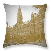 Healy Hall Sepia Throw Pillow