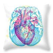 Heart Brain Throw Pillow