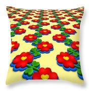 Heart Flowers Throw Pillow