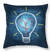 Heart In Light Bulb Throw Pillow