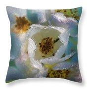 Heart Of A Dewy Flower Throw Pillow