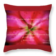 Heart Of A Flower With Bible Verses Throw Pillow