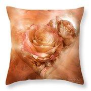 Heart Of A Rose - Gold Bronze Throw Pillow