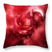 Heart Of A Rose - Red Throw Pillow