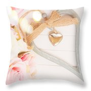 Heart Of Roses Throw Pillow