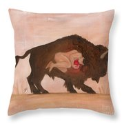 Heart Of The Buffalo Throw Pillow