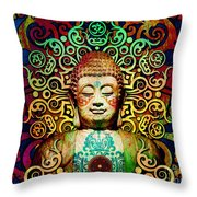Heart Of Transcendence - Colorful Tribal Buddha Throw Pillow by Christopher Beikmann