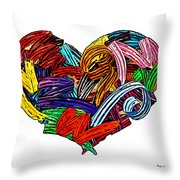 Heart Ribbons Throw Pillow