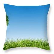 Heart Shape Tree On Green Grass Field Throw Pillow