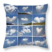 Heart Shaped Clouds - Collage Throw Pillow