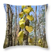 Heart Shaped Leaves Wrapped Around A Tree Throw Pillow