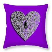 Heart Shaped Lock Purple .png Throw Pillow