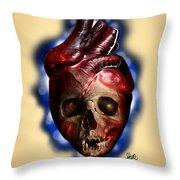 Heart Skull Throw Pillow