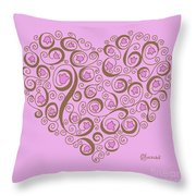 Heart With Pink Flowers And Swirls Throw Pillow
