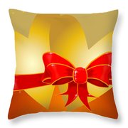 Hearts And Bow Throw Pillow