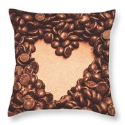 Hearts And Chocolate Drops. Valentines Background Throw Pillow