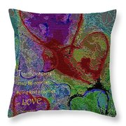 Hearts Knit Together In Love Throw Pillow