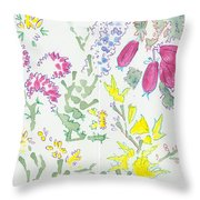 Heather And Gorse Watercolor Illustration Pattern Throw Pillow