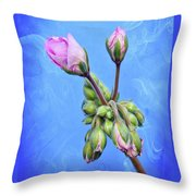 Nature Botanical Floral Pink Flowers Geranium Blooms  Throw Pillow