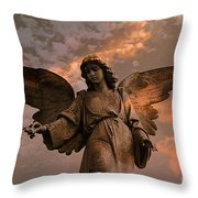 Heavenly Spiritual Angel Wings Sunset Sky  Throw Pillow by Kathy Fornal
