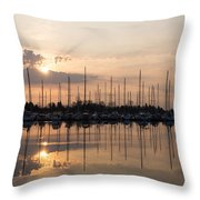 Heavenly Sunrays - Peaches-and-cream Sunrise With Boats Throw Pillow