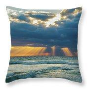 Heavenly Sunrise Panorama At Riviera Beach  Throw Pillow