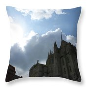 Heavens Above Mont St. Michel Abbey Throw Pillow
