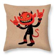 Heavy Metal Devil Throw Pillow by John Schwegel