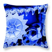 Heavy Metal In Blue Throw Pillow