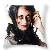 Heavy Metal Zombie Woman Wearing Headphones Throw Pillow