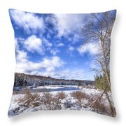 Heavy Snow At The Green Bridge Throw Pillow
