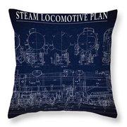 Heavy Steam Locomotive Blueprint Throw Pillow