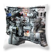 Heavy Truck Diesel Engine Isolated Throw Pillow