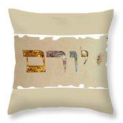 Hebrew Calligraphy- Yoram Throw Pillow