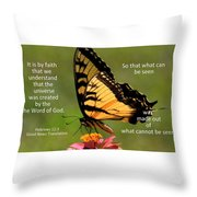 Hebrews Scripture Butterfly Throw Pillow