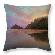 Heceta Head Lighthouse Foggy Sunset Throw Pillow