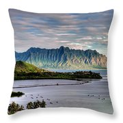 He'eia Fish Pond And Kualoa Throw Pillow