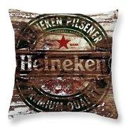 Heineken Beer Wood Sign 1a Throw Pillow