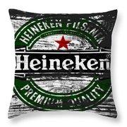 Heineken Beer Wood Sign 1f Throw Pillow