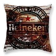 Heineken Beer Wood Sign 1j Throw Pillow