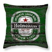 Heineken Beer Wood Sign 2 Throw Pillow