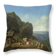 Heinrich Burkel 1802 - 1869 German Wirtshaus Auf Der Alm Mit Alpzug Tavern In The Alps Throw Pillow