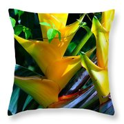 Heliconia Caribea Gold Throw Pillow