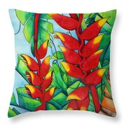 Heliconia Study Throw Pillow