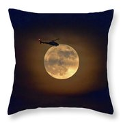 Helicopter Moon And Clouds I Throw Pillow