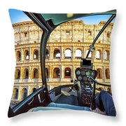 Helicopter On Colosseo Throw Pillow