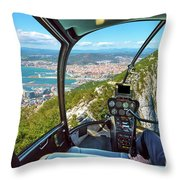 Helicopter On Gibraltar Rock Throw Pillow